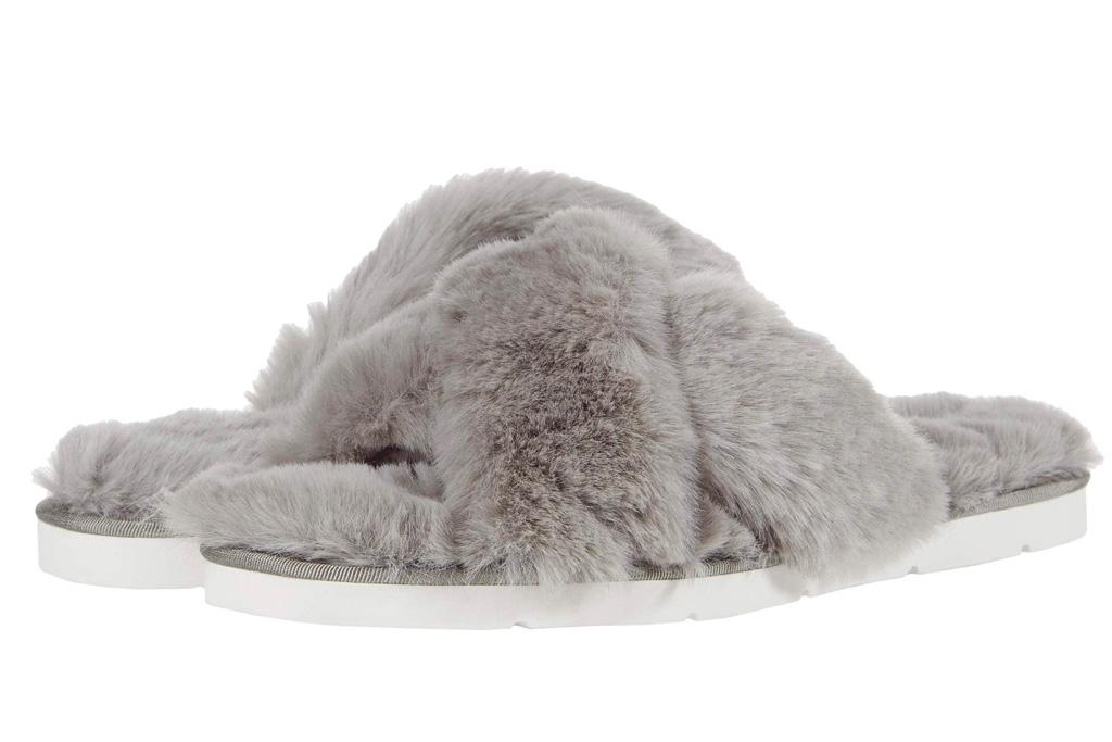 slides, gray, fuzzy, slippers, dolce vita