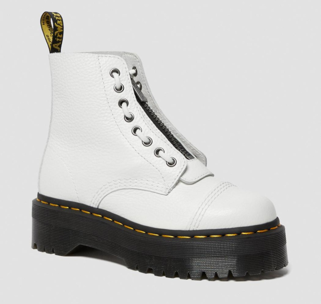 combat boots, white, zipper, dr martens