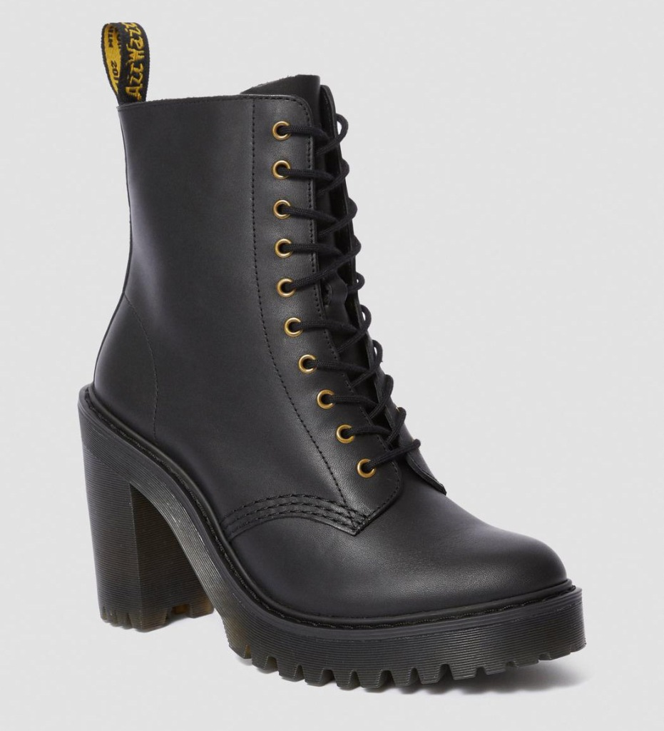 boots, lace-up, black, heels, dr martens