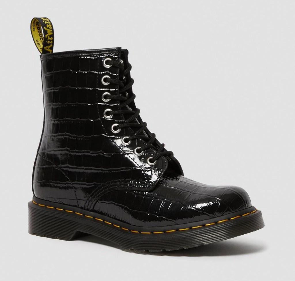 dr martens boots, patent