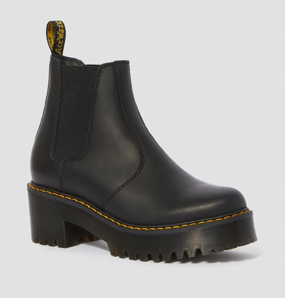 boots, black, heel, leather, platform, dr martens