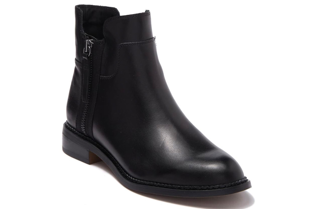 black boots, booties, leather, franco sarto
