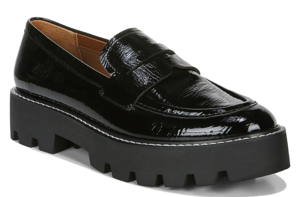 loafers, chunky black, patent, franco sarto