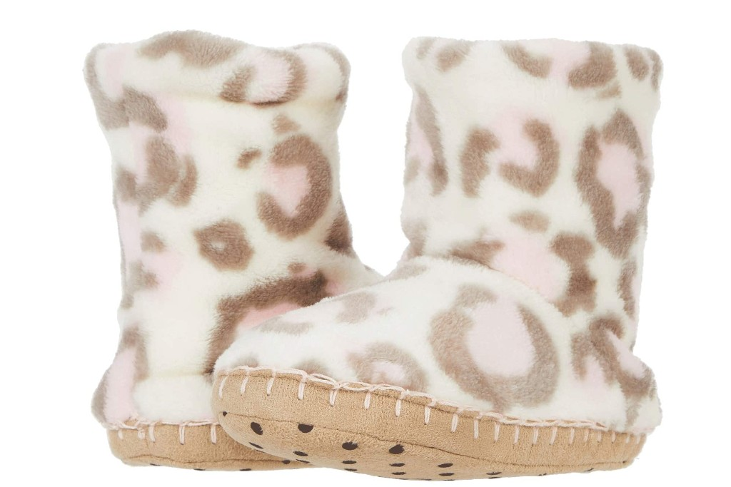 Hatley Kids Painted Leopard Fleece Slippers