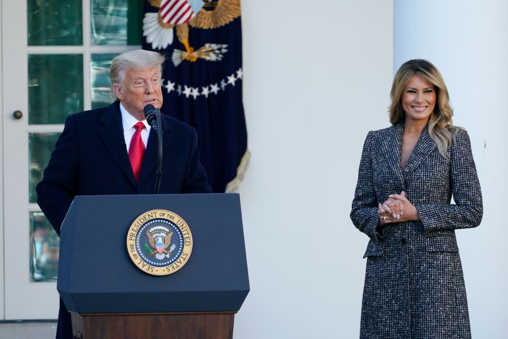 melania trump, thanksgiving, turkey pardon, skirt, coat, heels, shoes, white house