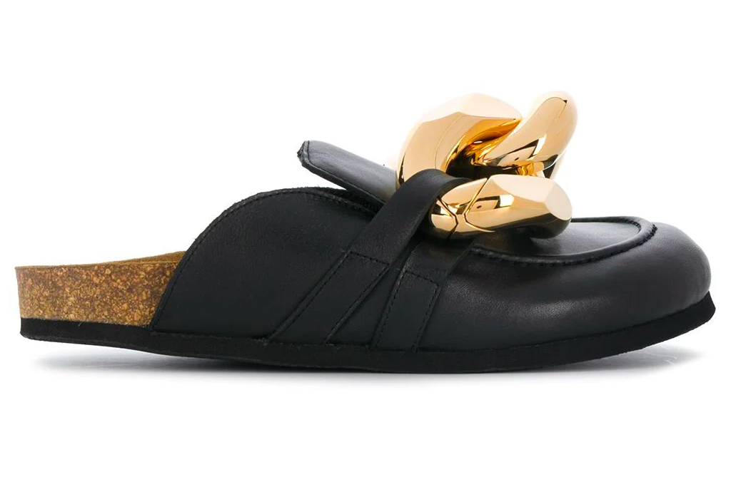 jw anderson, clogs, mules, loafers, black, chain