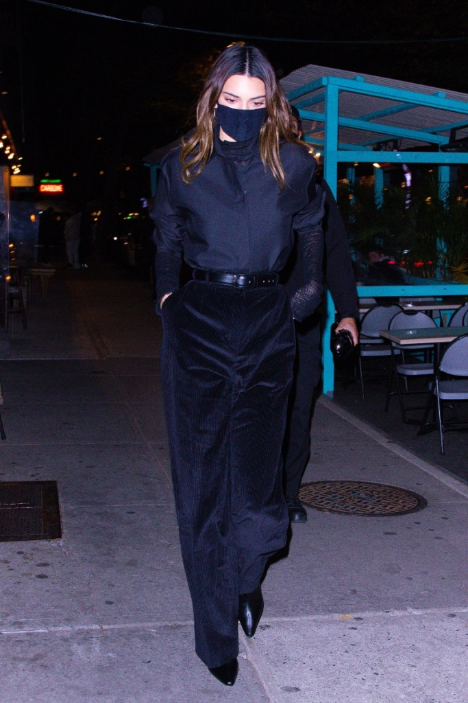 kendall jenner, corduroy pants, pants, black, shirt, boots, new york, outfit