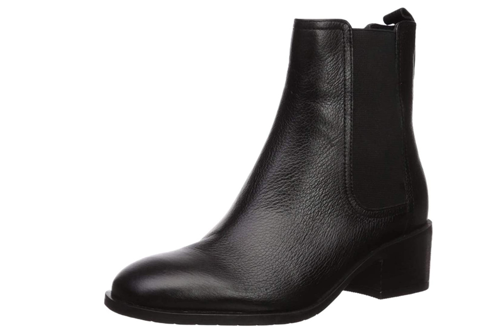 black boots, booties, leather, kenneth cole