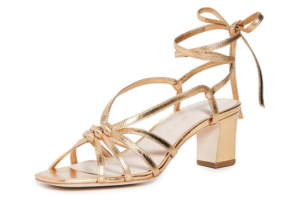 sandals, gold, ankle wrap, wrap, heels, loeffler randall