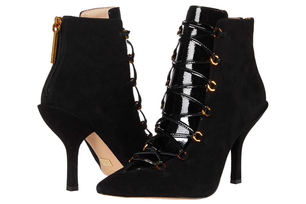 black boots, lace up, heels,  louise et cie