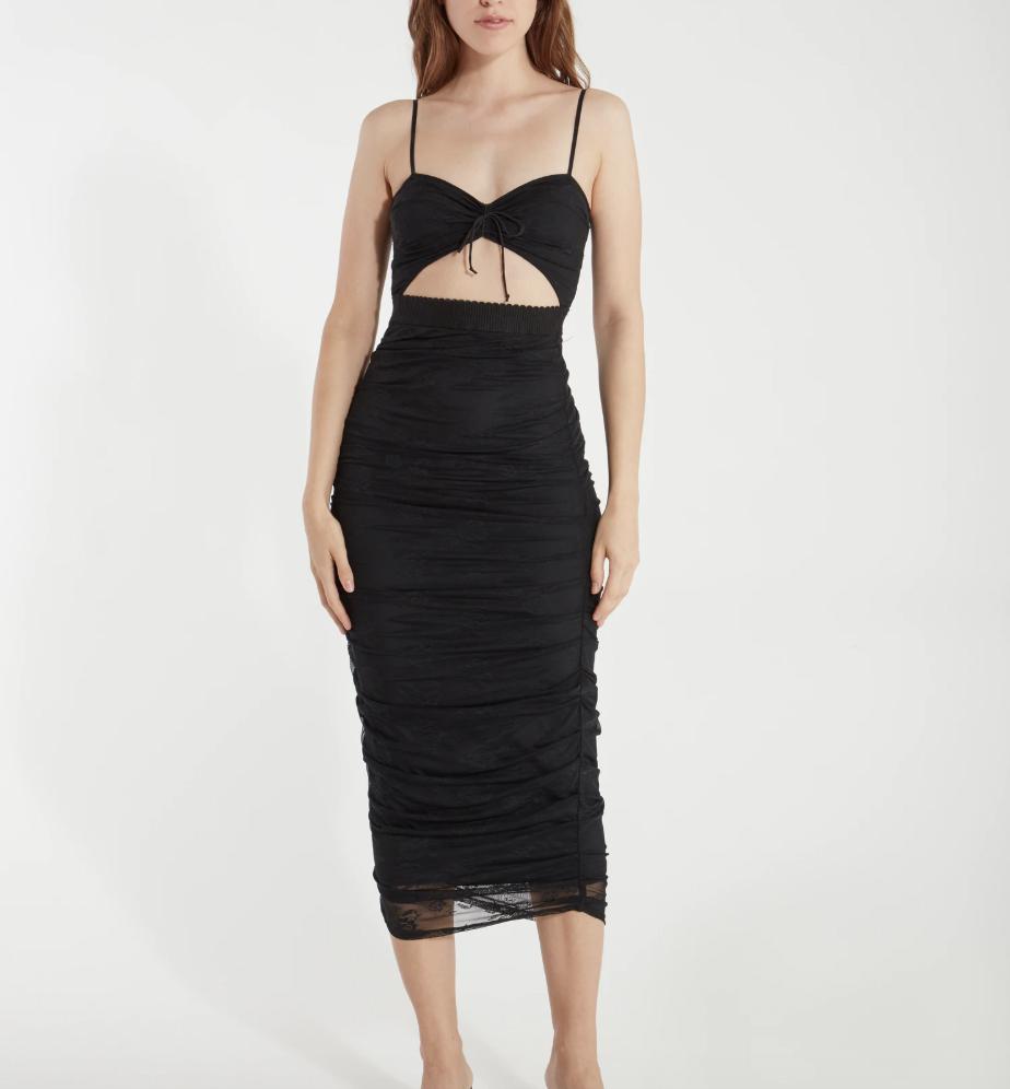 dress, black, cutout, halter, for love & lemons
