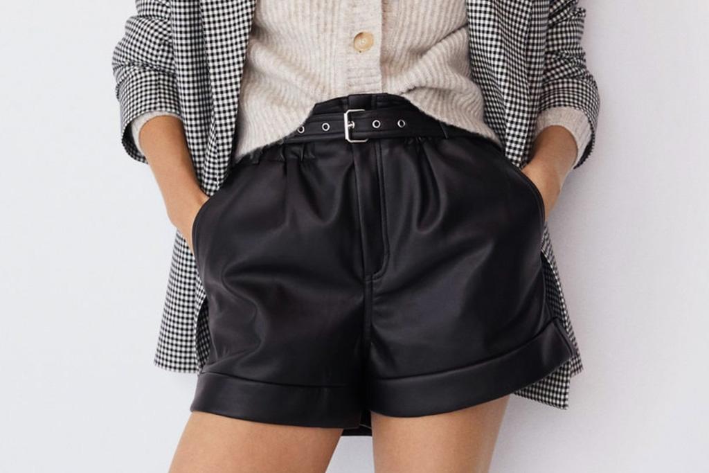mango, leather shorts, shorts