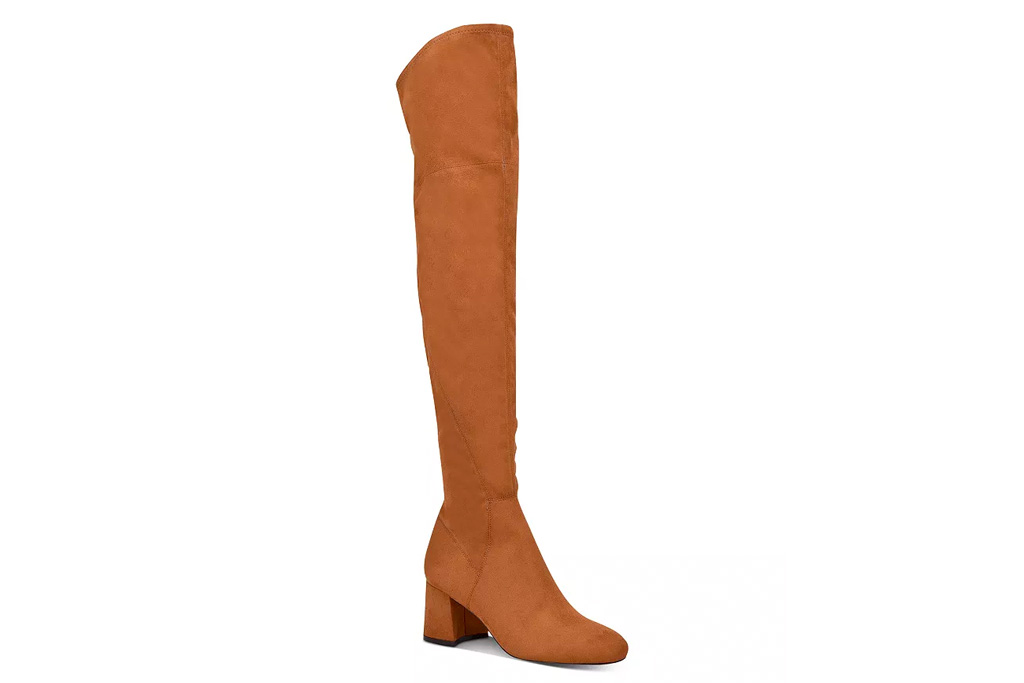 shoes, heels, boots, thigh high, over the knee, brown, marc fisher