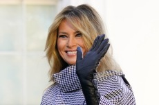 Melania Trump Welcomes White House Christmas Tree in a Houndstooth Coat & Knee-High Boots