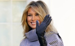 melania trump, coat, dress, boots, outfit,