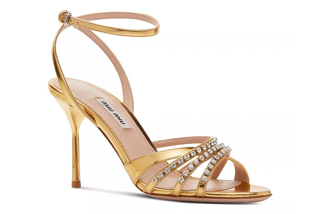 gold sandals, heels, glitter, miu miu