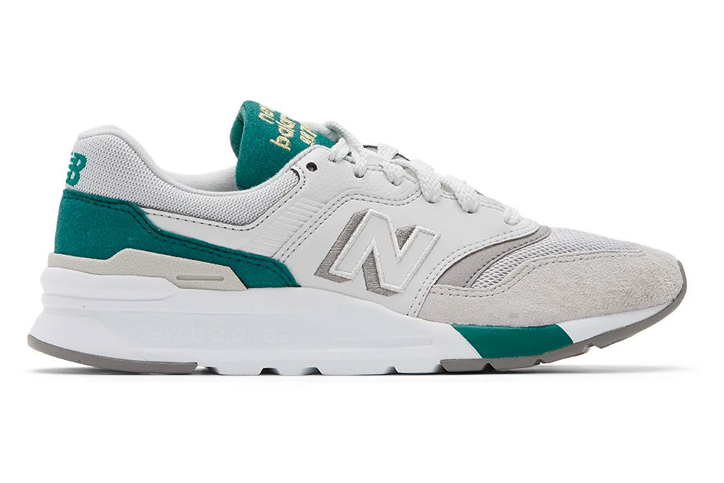 sneakers, green, white,  new balance