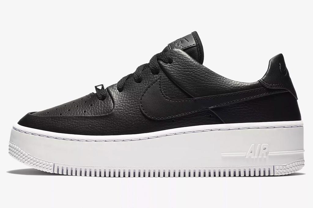black, white, sneakers, low top, nike