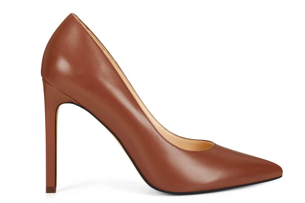 brown pumps, leather, heels, nine west