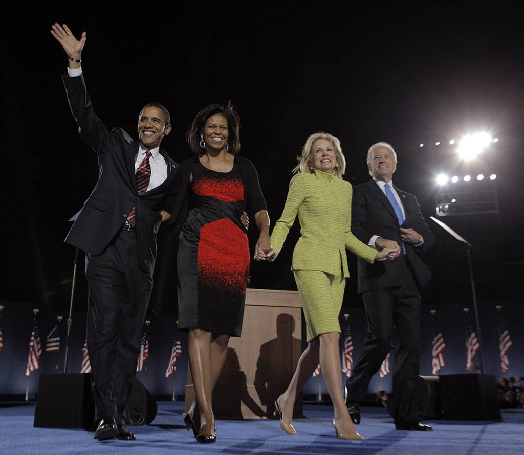 President-elect Barack Obama, left, his wife, Michelle, Vice President-elect Joe Biden, right, and his wife, Jill, celebrate after Obama's acceptance speech at the election night rally in Chicago, Tuesday, Nov. 4, 2008. (AP Photo/Jae C. Hong)