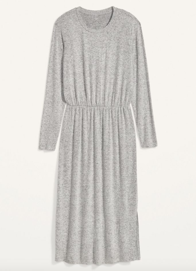 Cozy Plush-Knit Waist-Defined Midi Dress
