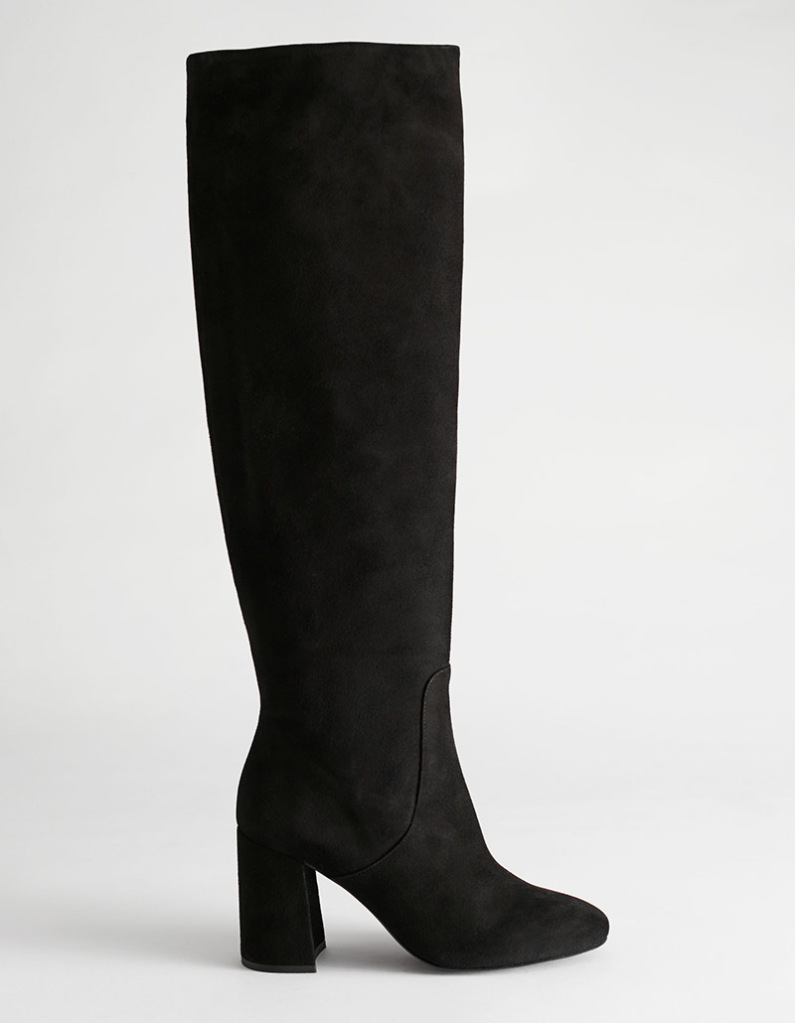 black boots, heeled, suede, knee high, other stories