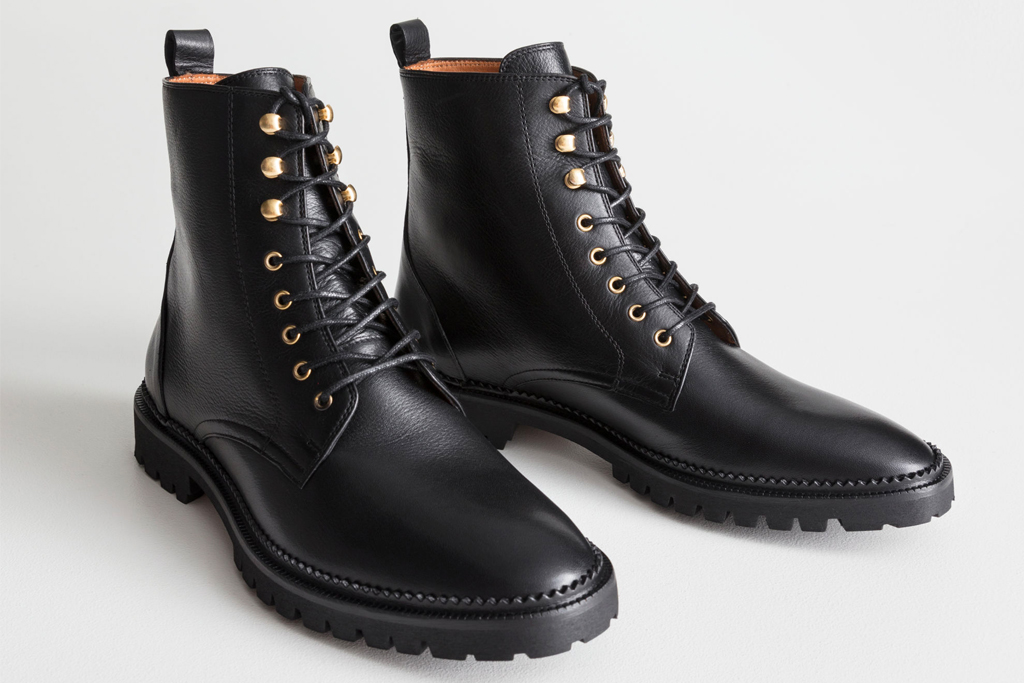 boots, black, combat boots, lace up, other stories
