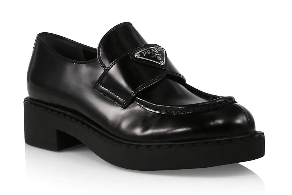 prada, loafers, shoes, black leather