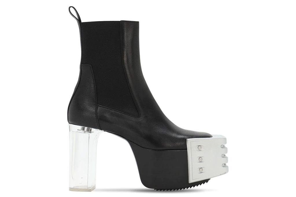 Rick Owens Grill Kiss boots, black, clear heel, metal