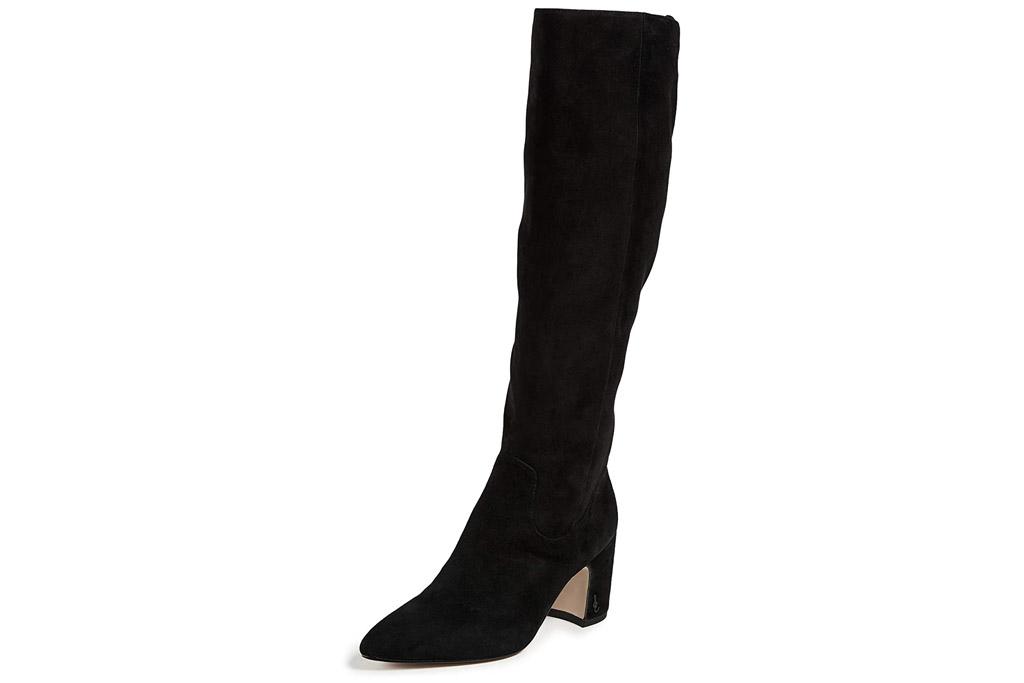 black boots, heeled, suede, knee high, sam edelman