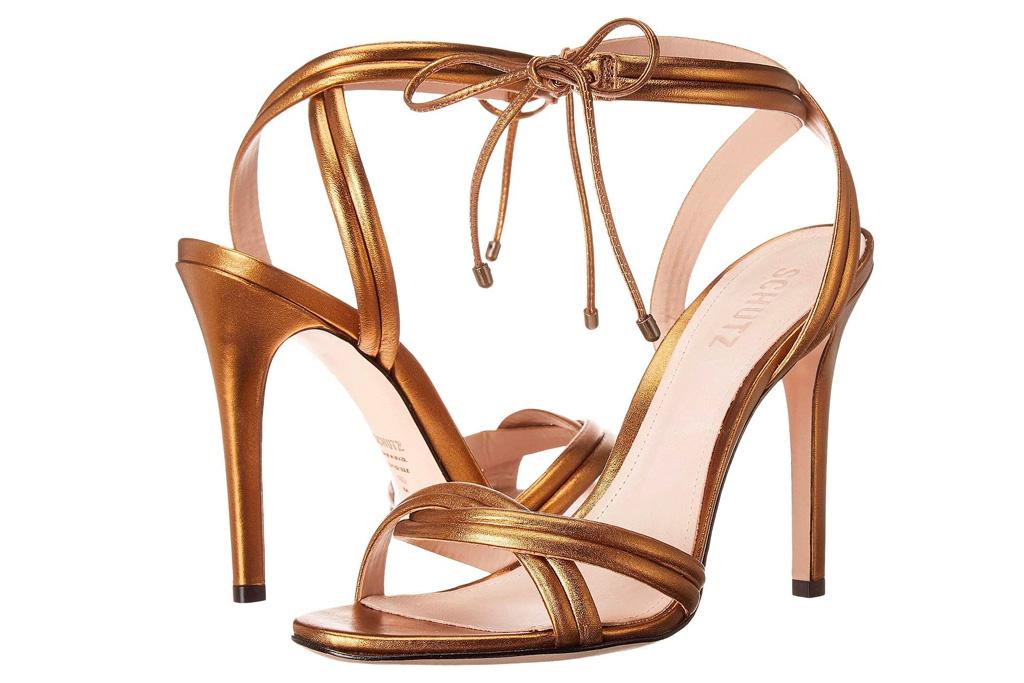 gold, sandals, heels, schutz