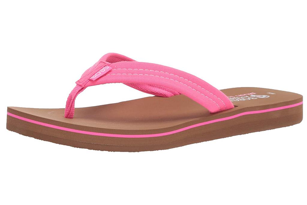 flip flops, sandals, pink, skechers