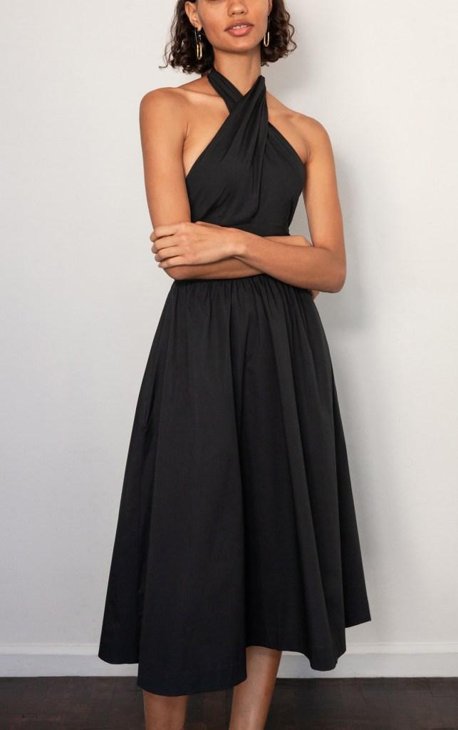 dress, black, cutout, halter, staud