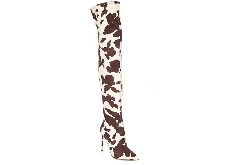 printed boots, thigh high, over the knee