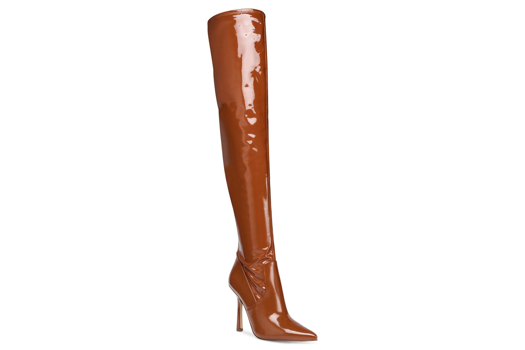 shoes, heels, boots, thigh high, over the knee, brown, steve madden
