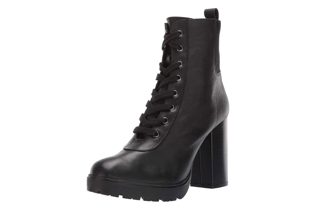 boots, lace-up, black, heels, steve madden