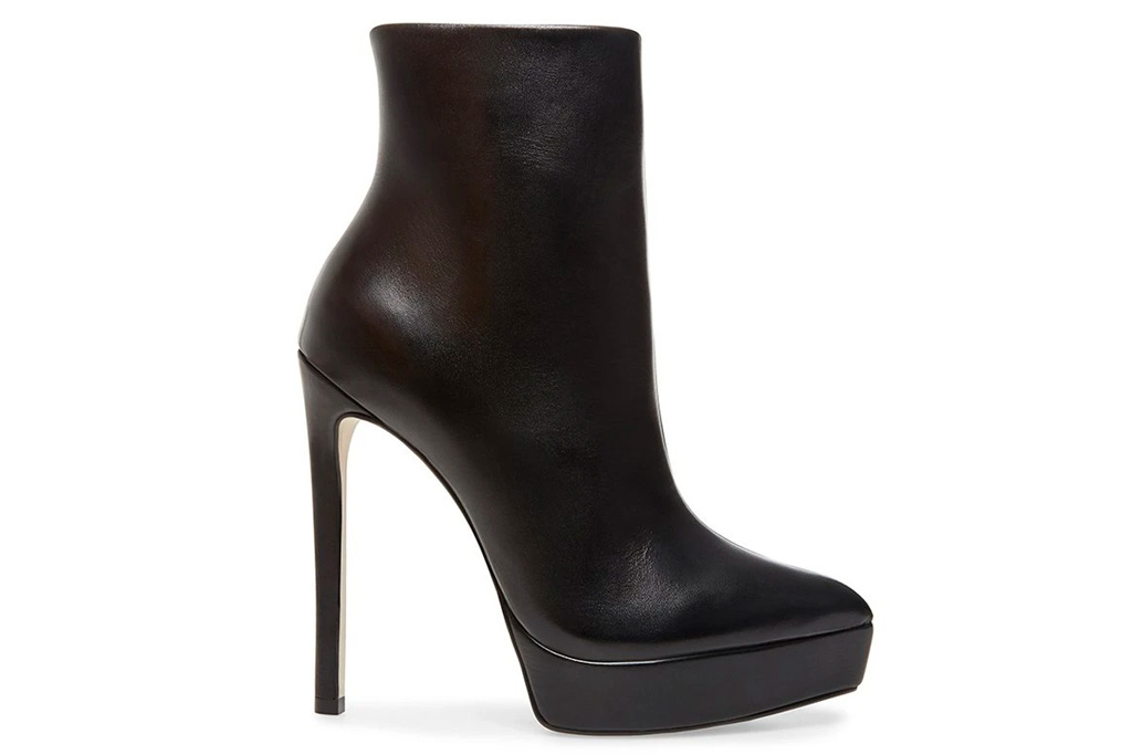 boots, black, heel, leather, platform, steve madden
