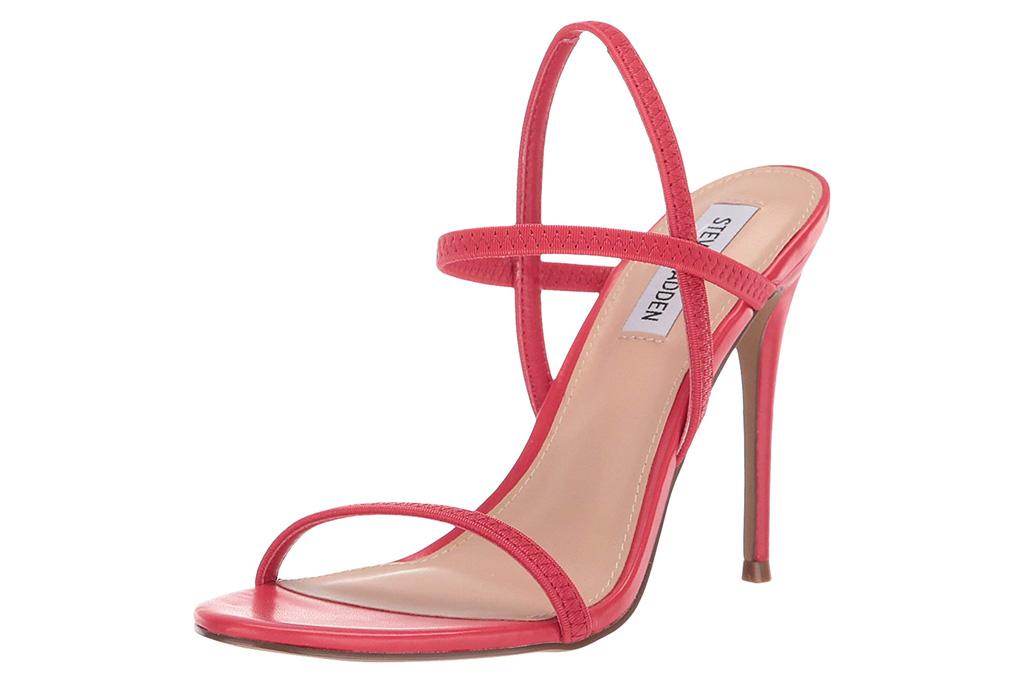 red heels, sandals, steve madden