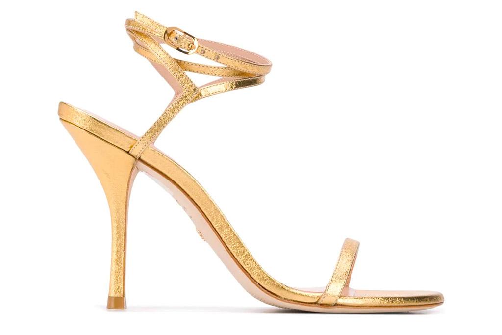 stuart weitzman, gold sandals, heels