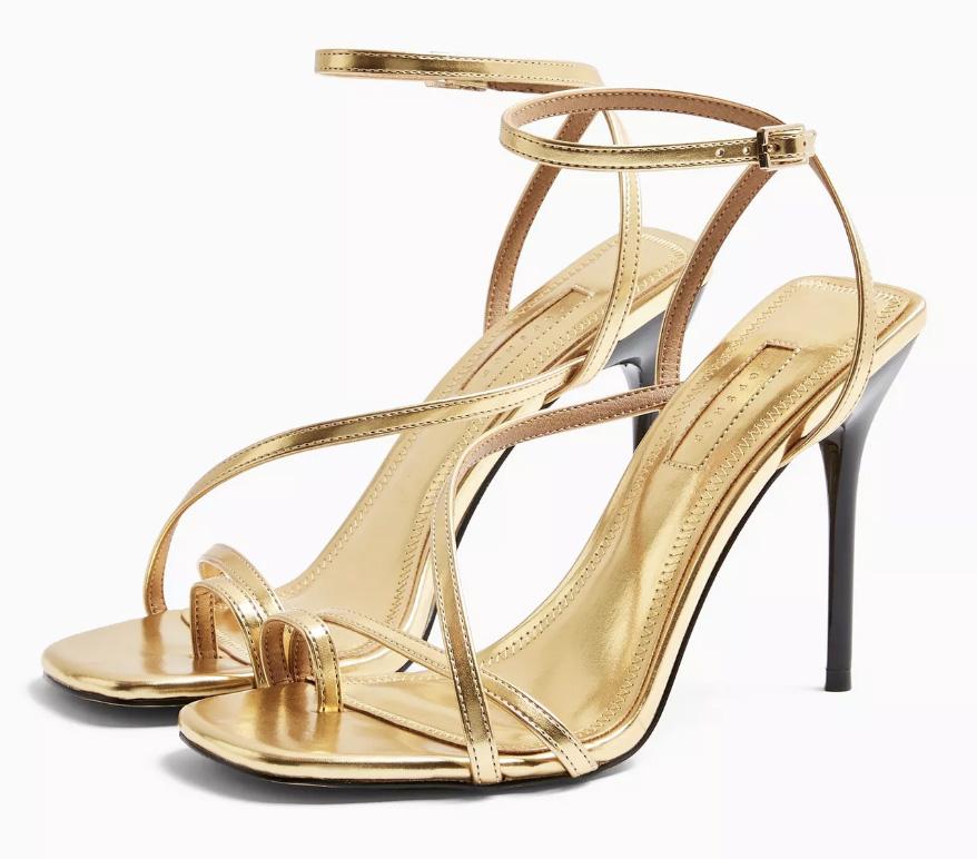 gold, sandals, heels, topshop