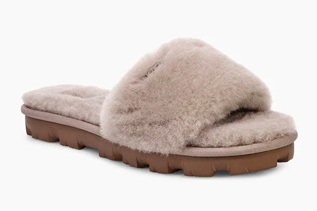 slides, gray, fuzzy, slippers, ugg