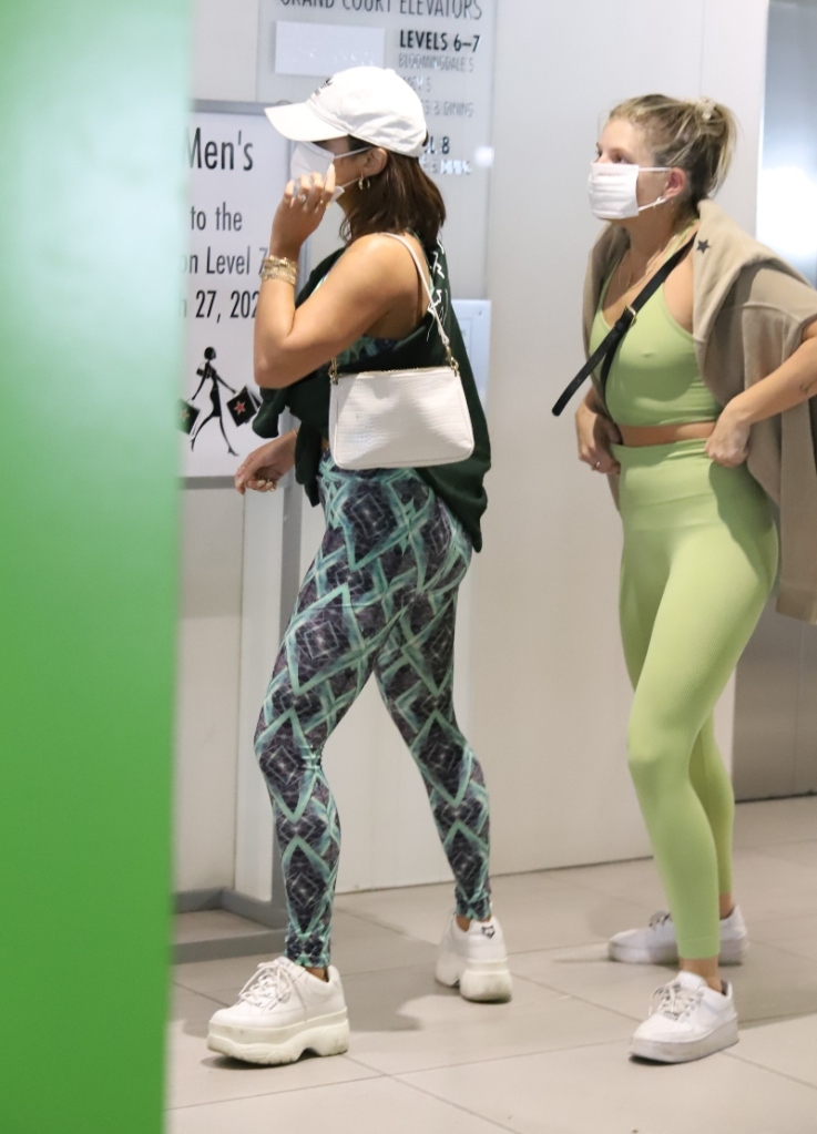vanessa hudgens, leggings, sports bra, sneakers, chunky, naked wolfe, workout, gym, adidas