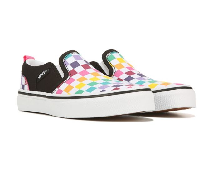 vans checkerboard rainbow slip on