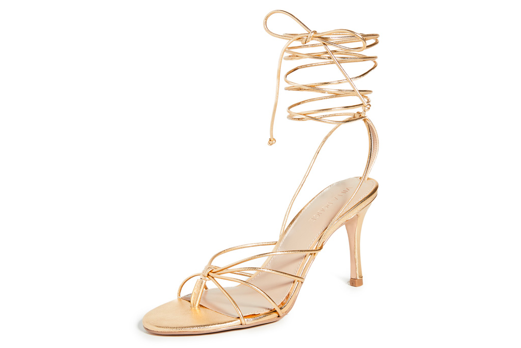 gold sandals, heels, ankle wrap, stiletto, villa rouge