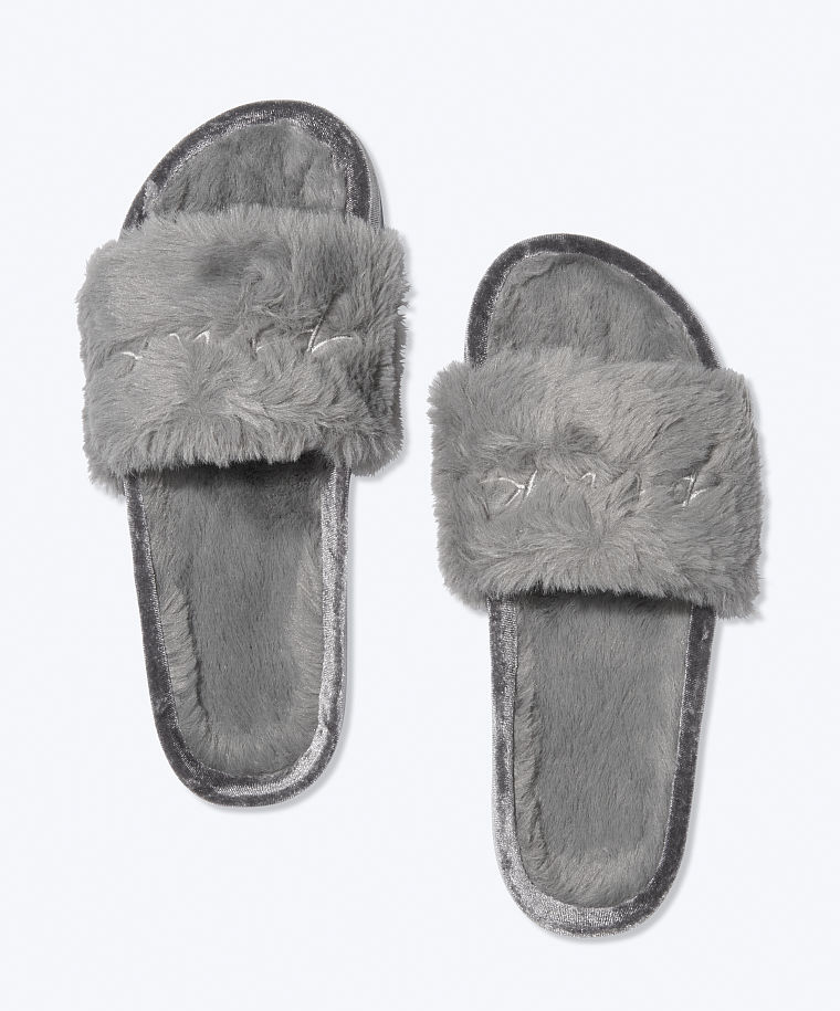 slides, gray, fuzzy, slippers, victorias secret, pink