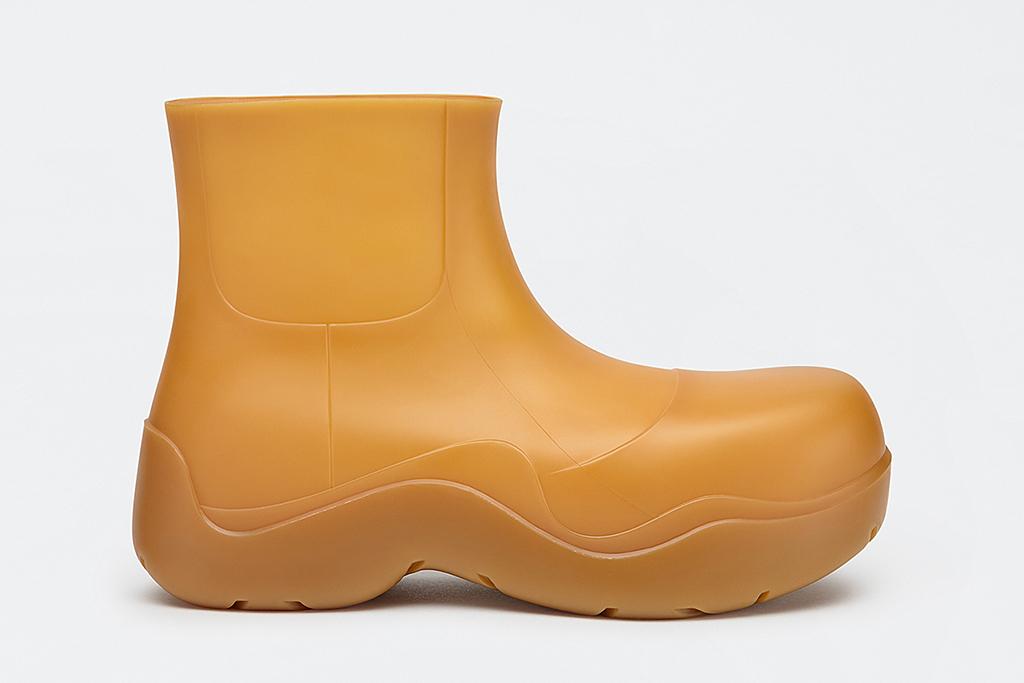 bottega veneta puddle boot, tan rain boot, designer rubber boots