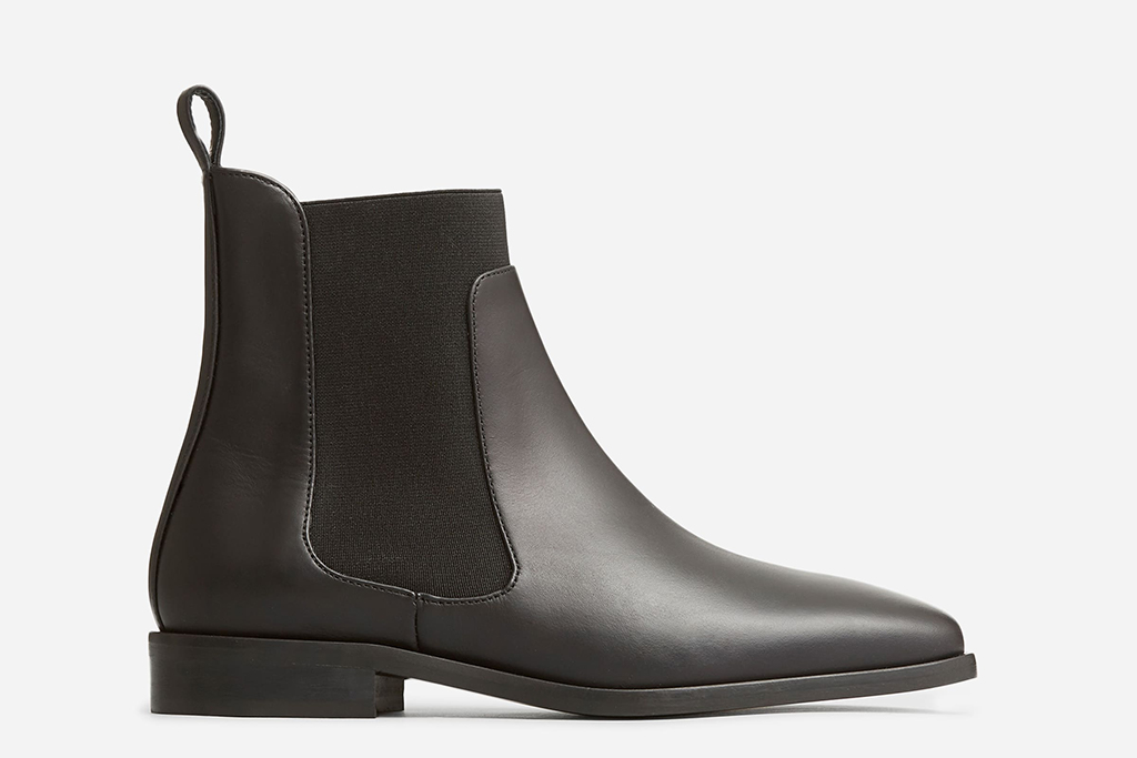 everlane shoes, black boot square toe, low heeled black boot