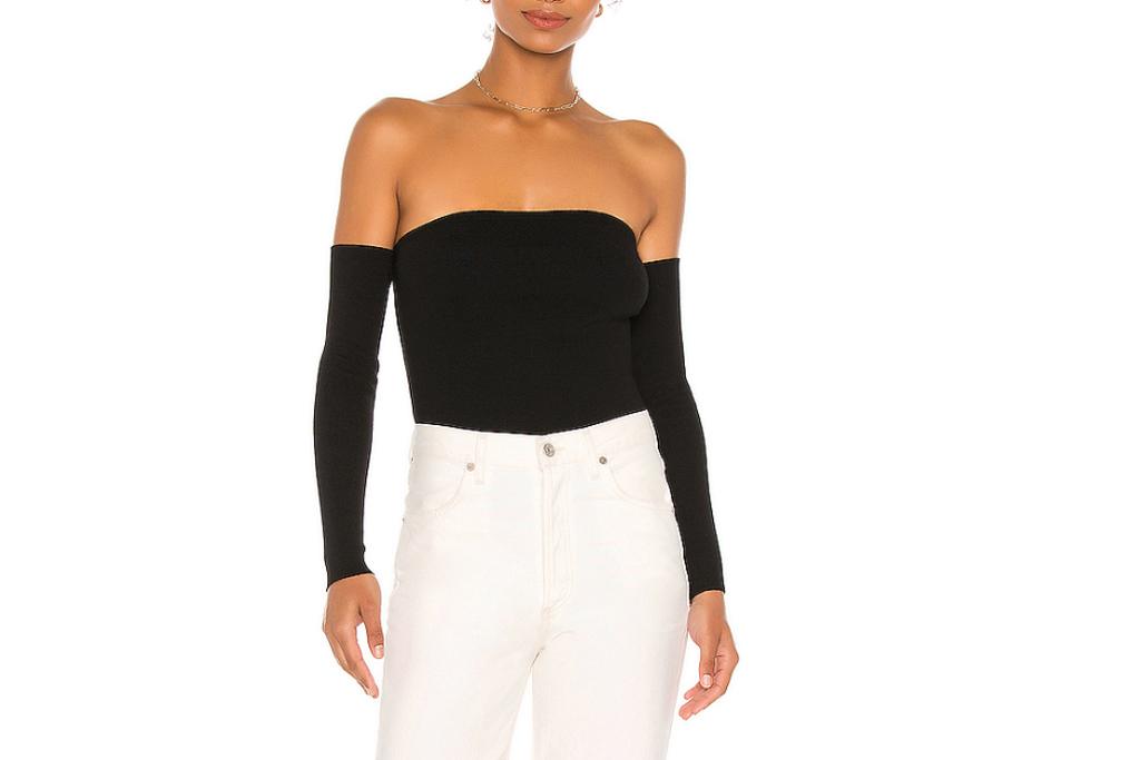 black shirt, off the shoulder, 525