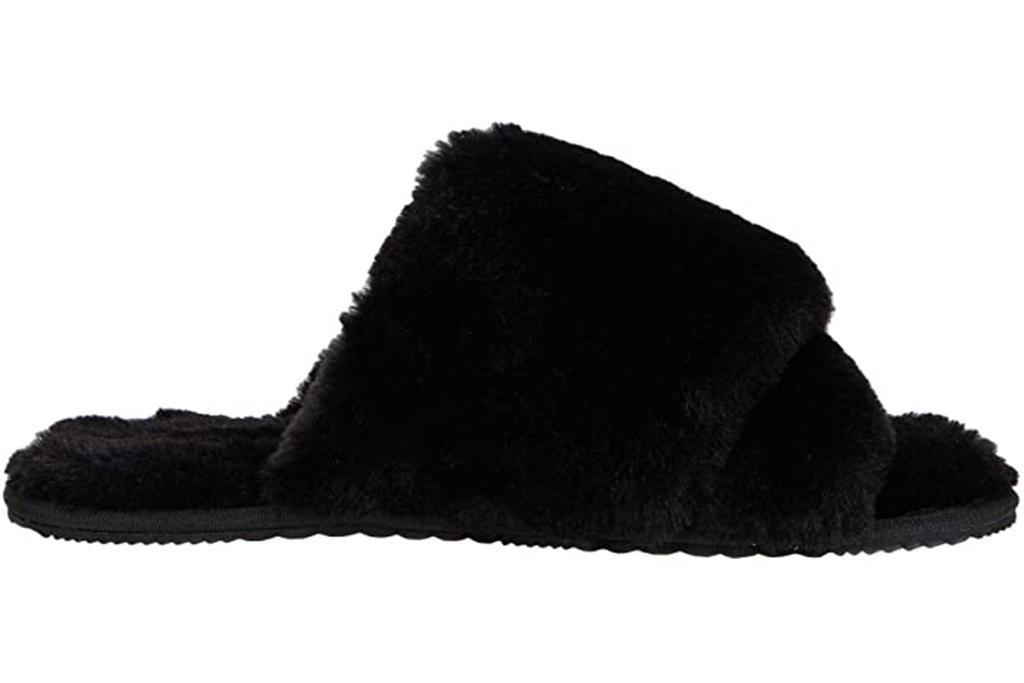 sorel slippers, fuzzy slippers, black fuzzy slides