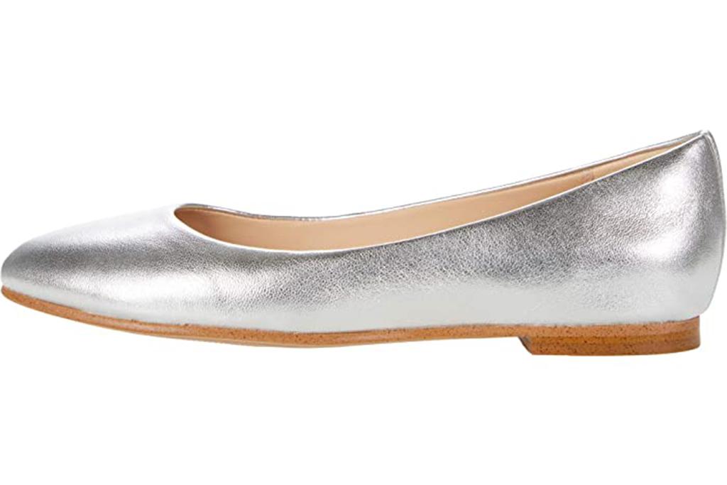 silver metallic ballet flat, clarks ballet flat, silver flat